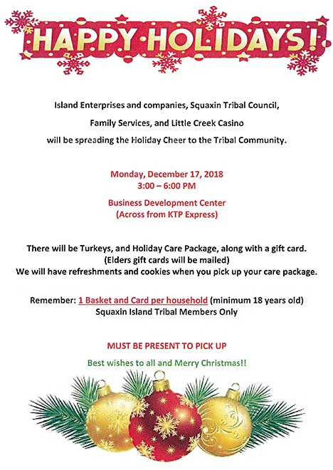 Turkeys and Holiday Care Package Give-Away – Squaxin Island